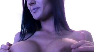 Hot Brunette Shows Breast & Smokes On Cam (No Sound).
