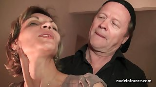 Older knob and youthfull pipe drill French of age and sploog her face with spunk in threesome