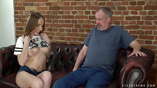 Brunette Lina Mercury uses her blowjob talent to please an older guy