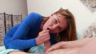 Cock sucking redhead mommy wants sperm in the brush mouth