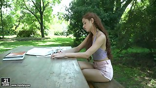 Vanna Bardot takes all the cum relating to her frowardness from a big cock outdoors