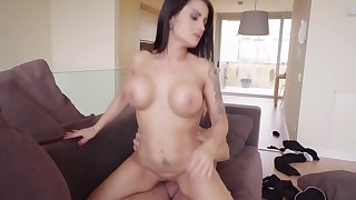 Buxom MILF with huge ass and big bosom rides giant horn