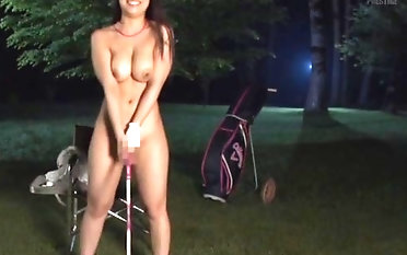 Stunning brunette unspecified likes to stripe down on the golf compass